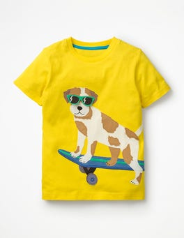 Sunshine Yellow Sprout Appliqué Animal Dude T-shirt