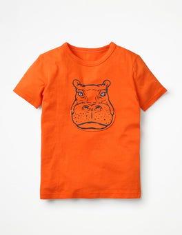 Orange Spark Sleepy Hippo Big Mouth T-shirt