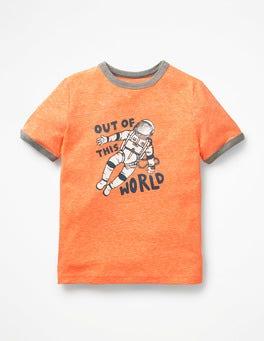 Acid Orange Astronaut Zoom-to-the-Moon T-shirt