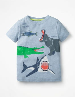 Blue Marl Toothy Creatures Wild Animals T-shirt