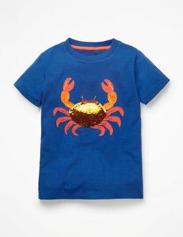 Duke Blue Sequin Crab Sequin Animal T-shirt