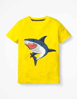 Sunshine Yellow Sequin Shark Sequin Animal T-shirt