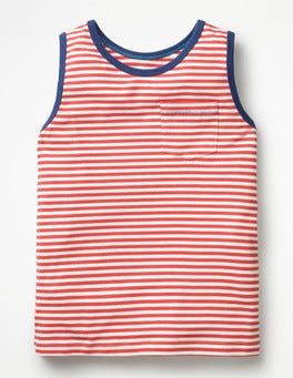 White/Jam Red Stripy Tank