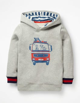 Grey Marl Fire Engine Fire Engine Hoodie