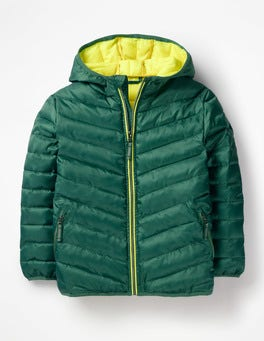 Green Kingfisher Shower Resistant Puffer Jacket