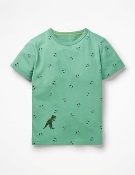 Patina Green Headphones Printed T-shirt