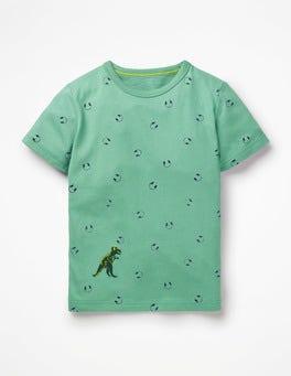 Patina Green Headphones Printed T-shirt