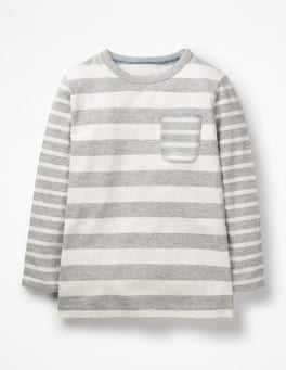 Grey Marl/Ecru Hotchpotch Stripe T-shirt