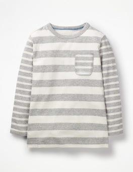 Grey Marl/Ecru Hotchpotch Stripe T-shirt
