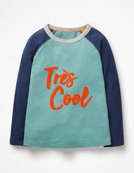 Ocean Scene Blue Très Cool Textured Raglan T-shirt