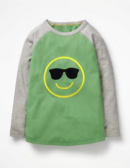 Jungle Green Smiley Textured Raglan T-shirt