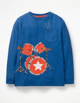 Duke Blue Drumkit Music Appliqué T-shirt
