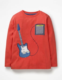 Beam Red Guitar Music Appliqué T-shirt