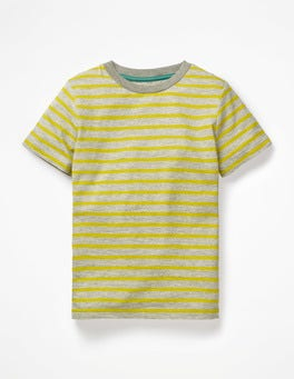 Grey Marl/Celery Yellow Slub Washed T-shirt