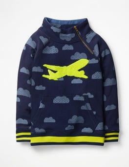 College Blue Clouds Raglan Zip Popover Sweatshirt