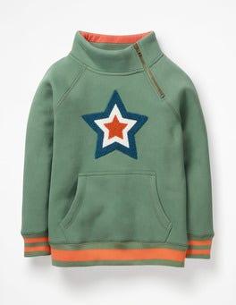 Rosemary Green Star Raglan Zip Popover Sweatshirt