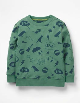 Patina Green Emojis Printed Sweatshirt