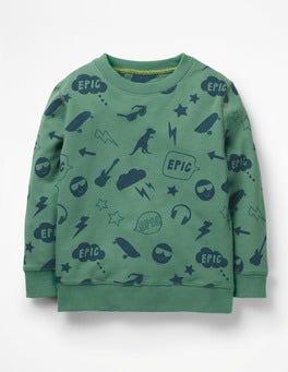 Patina Green Emojis Printed Sweatshirt