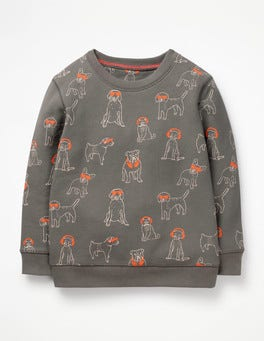 Pewter Grey DJ Dogs Printed Sweatshirt