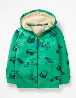 Watercress Green Day Out Shaggy-lined Zip-up Hoodie