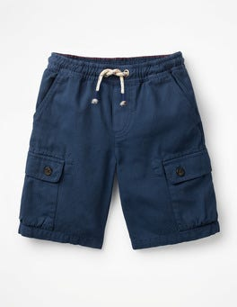 College Blue Pull-on Cargo Shorts