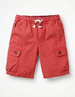 Washed Red Pull-on Cargo Shorts