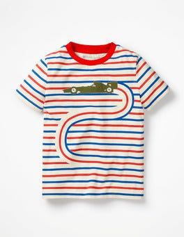 Ecru/Beam Red Car Go-faster Stripe T-shirt