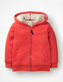 Beam Red Borg-lined Zip-up Hoodie