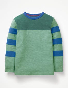 Patina Green Sporty Colourblock T-shirt
