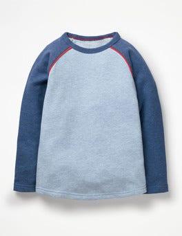 Bleu clair chiné T-shirt à manches raglan