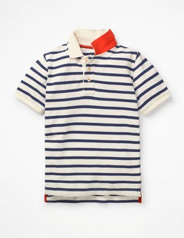College Blue/Ecru Piqué Polo Shirt