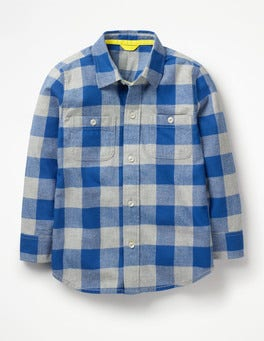 Duke Blue/Grey Marl Gingham Cosy Check Shirt