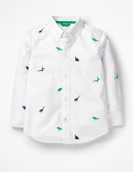 White Oxford Tiny Dinos Embroidered Shirt