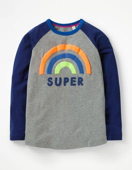 Grey Marl Super Rainbow Pop Raglan T-shirt