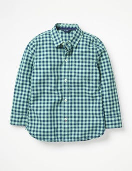 Washed Green Gingham Garment-dyed Laundered Shirt