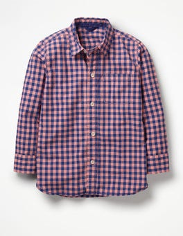 Washed Red Gingham Garment-dyed Laundered Shirt