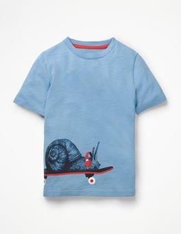 Lake Blue Snail Graphic Animal T-shirt