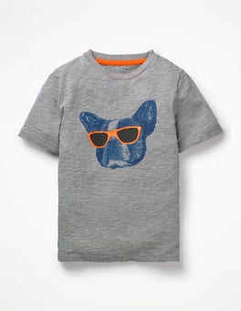 Grey Marl Cool Dog Graphic Animal T-shirt