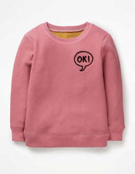 Washed Berry Pink Ok Cosy Textured Sweatshirt