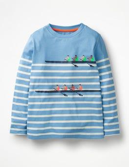 Lake Blue/Ecru Boat Race Racing Breton T-shirt