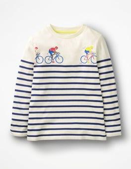 Ecru/College Blue Cyclists Racing Breton T-shirt