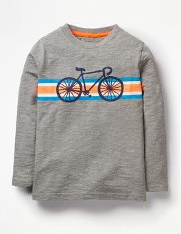 Grey Marl Bike Sporty Stripe T-shirt