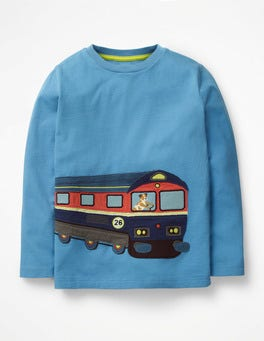 Lake Blue Train Vehicle Appliqué T-shirt