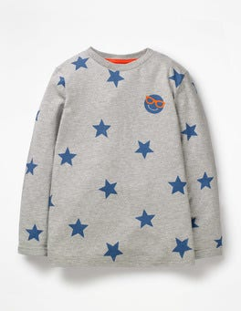 Grey Marl Emoji Star Emoji T-shirt