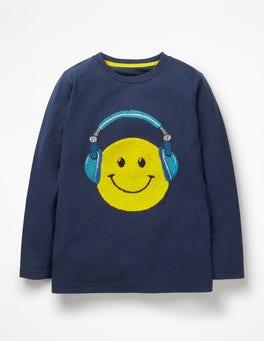 Navy Blue Headphones Emoji T-shirt