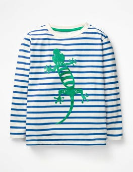 Ecru/Duke Blue Lizard Furry Animal T-shirt