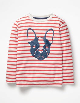 Ecru/Jam Red Bulldog Furry Animal T-shirt