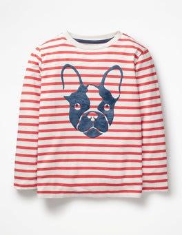 Ecru/Jam Red Bulldog Furry Animal T-shirt
