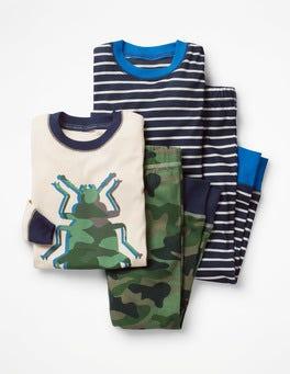 Khakigrün/Camouflage, Käfer Langer Schlafanzug im 2er-Pack