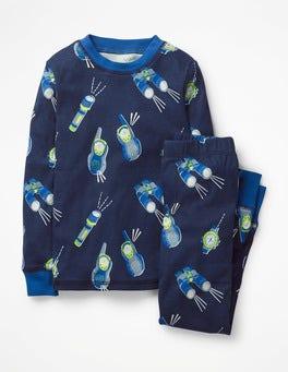 College Blue Walkie Talkie Glow-in-the-dark Long Pyjamas